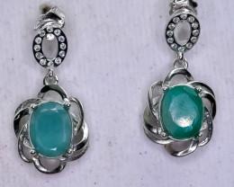 17.32 Crt Natural Emerald 925 Silver Earrings
