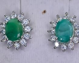 33.87 Crt Natural Emerald 925 Silver Earrings