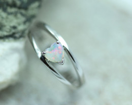 Lovers Heart Opal Fire  Crystal set in Silver 925 Ring   Code CCC2579