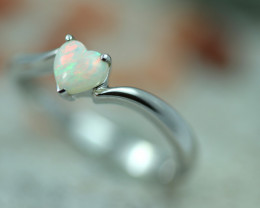 Lovers Heart Opal Fire  Crystal set in Silver 925 Ring   Code CCC2583