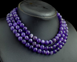 Genuine 738.00 Cts 3 Line Amethyst Beads Necklace