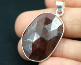 Faceted Ruby Sterling Silver pendant   code CCC 2188