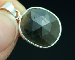 Faceted Sapphire  Sterling Silver pendant   code CCC 2202
