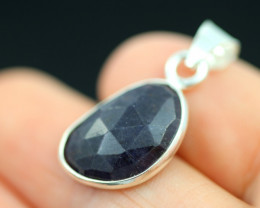 Faceted Sapphire  Sterling Silver pendant   code CCC 2203