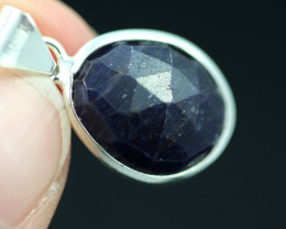 Faceted Sapphire  Sterling Silver pendant   code CCC 2204
