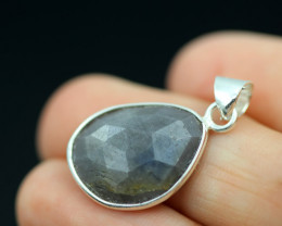 Faceted Sapphire  Sterling Silver pendant   code CCC 2205