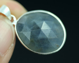 Faceted Sapphire  Sterling Silver pendant   code CCC 2206