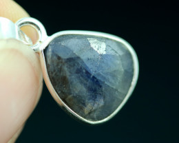 Faceted Sapphire  Sterling Silver pendant   code CCC 2210