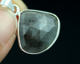 Faceted Sapphire  Sterling Silver pendant   code CCC 2213