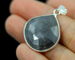 Faceted Sapphire  Sterling Silver pendant   code CCC 2215
