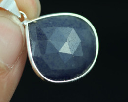 Faceted Sapphire  Sterling Silver pendant   code CCC 2218