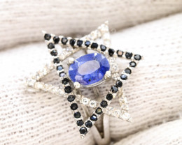 Unique Design 19.25 Ct Silver Ring ~ With Sapphire  Stone