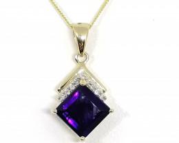 Amethyst and Diamond Pendant 1.75tcw. - 9kt. Gold.