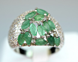 Natural 13 Pieces  Green Emerald,CZ  925 Silver Ring
