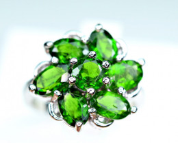 Natural several top Green Chrome Diaposide,CZ 925 Silver Ring