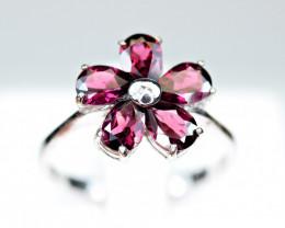 Natural Nice color Rhodolite 925 Silver Nice Design Ring