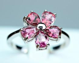 Natural Nice color Tourmaline 925 Silver Nice Design Ring