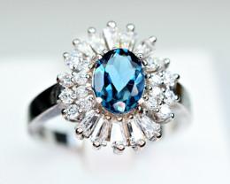 Natural london blue Topaz ,CZ 925 Silver Ring