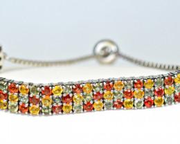 Natural  105 Pis Multi Sapphire 925 Silver Bracelet