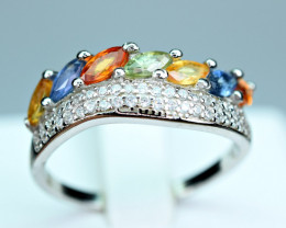 Natural Multi Sapphire ,CZ 925 Silver Ring