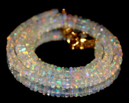 37 Crt Natural Ethiopian Welo Faceted Opal Necklace 209