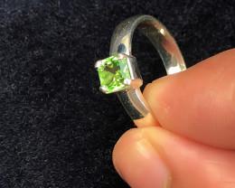 16 Ct Natural Green Transparent Tourmaline Gemstone Ring US 6