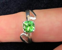 17 Ct Natural Green Transparent Tourmaline Gemstone Ring US 6.5