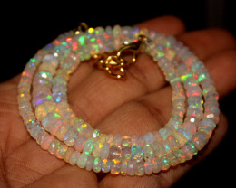 41 Crt Natural Ethiopian Welo Faceted Opal Necklace 201
