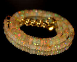 38 Crt Natural Ethiopian Welo Faceted Opal Necklace 212