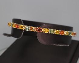 Natural Multi Sapphire & 925 Yellow Sterling  Silver Fancy Bracelet