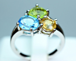 Natural Worthy Multi color 3 Huge Pis Natural stones ,CZ 925 Silver Ring