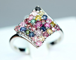 Natural Worthy Multi color Natural stones ,CZ 925 Silver Ring