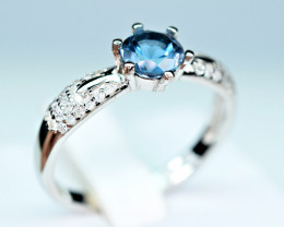 Natural london blue Topaz ,CZ 925 Silver Ring