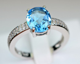 Natural Swiss blue Topaz ,CZ 925 Silver Top Ring