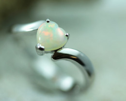 Lovers Heart Opal Fire Crystal set in Silver 925 Ring Size 6 Code CCC2634