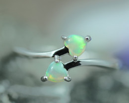 Lovers Heart Opal Fire Crystal set in Silver 925 Ring Size 6 Code CCC2653