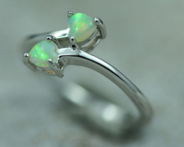 Lovers Heart Opal Fire Crystal set in Silver 925 Ring Size 6 Code CCC2654