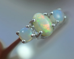 Opal Fire  Crystal set in Silver 925 Ring Size 7 Code CCC2659