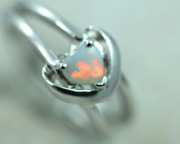 Lovers Heart Opal Fire Crystal set in Silver 925 Ring Size 7.5 Code CCC2671