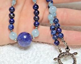 160.0 Total Carat Weight Afghan Lapis Lazuli / Aquamarine Gemstone Necklace