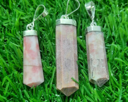 Natural Rhodonite 925 Silver Pendant