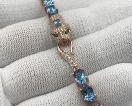 Natural Sky Blue Topaz, CZ & 925 Rose Gold Fancy Silver Bracelet