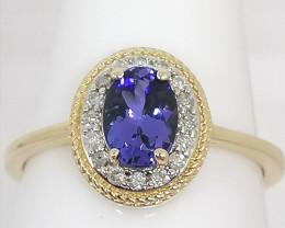 AAA Tanzanite and Diamond Ring 1.00tcw.