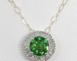 Natural Chrome Diopside and Diamond Pendant 1.15tcw. -9kt. Gold