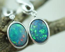 Opal Fire  Doublet set in Silver 925 Earrings   Code CCC2691