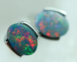 Opal Fire  Doublet set in Silver 925 Earrings   Code CCC2692