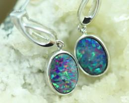 Opal Fire  Doublet set in Silver 925 Earrings   Code CCC2693