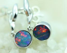 Opal Fire  Doublet set in Silver 925 Earrings   Code CCC2694
