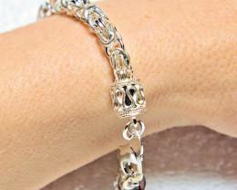 19.7 Grams Heavy Sterling Silver Byzantine Bracelet - Gorgeous