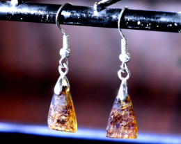 Rarest Natural Clear Smoky Blue Amber .925 Sterling Silver Earrings 1.5inch